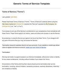 exle of terms of service screenshot