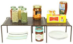 kitchen counter cabinet. Amazon.com - DecoBros Expandable Stackable Kitchen Cabinet And Counter Shelf Organizer, Bronze L