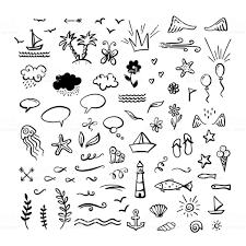 海の手描き落書きベクトルクリップアート海夏のテーマ いかりの