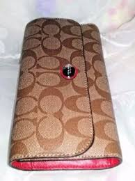 Coach Wallet TriFold Mocha Brown Signature Canvas Red Leather Trademark   Coach  Trifold Coach Wallet