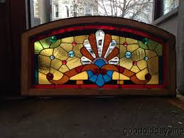 victorian 1890s chicago stained leaded glass arched transom window w bevels jewels 37 3