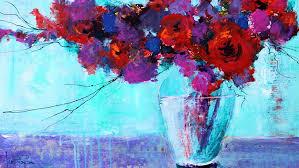 acrylic flowers painting technique