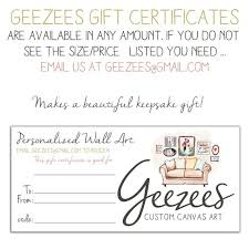 Gift Certificate Wording Holiday Printable Gift Certificate Custom Canvas Art Gift Etsy