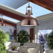 antique copper industrial pendant light with frosted diffuser