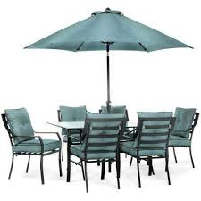 lavallette black steel 7 piece outdoor dining set with umbrella base and ocean blue