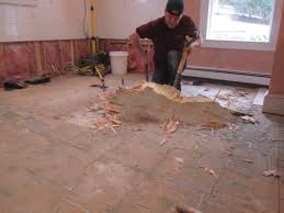 how to remove a tile floor and underlayment