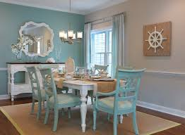 Mid-sized beach style medium tone wood floor dining room idea in Boston  with blue