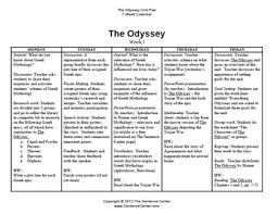 The Odyssey Character Chart The Odyssey A 7 Week Unit Plan W Individual Lessons
