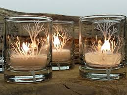 Set Of 4 Clear 'Tree Branch' Engraved Glass Candle Holders