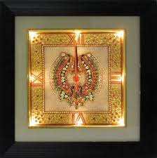 ecraftindiagolden color designed marble wall clock with led and wooden frame