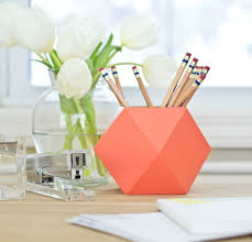 geometric pencil cup we love the modern feel of this funky container make it with patterned paper for an extra pop