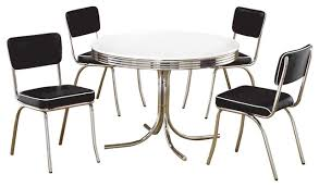 retro chrome dining room sets. retro round table cushion chair chrome dining 5-piece set, white/black contemporary room sets t