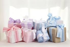 pile of baby shower gifts