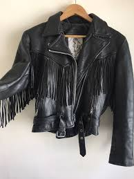 amazing vintage new age black fringed motorcycle jacket genuine leather