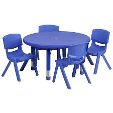 33 round adjule blue plastic activity table set with 4 school stack chairs