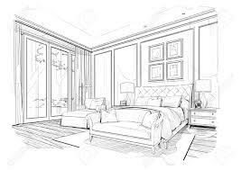 Bedroom Interior Design Drawing Sketch Bedroom Black And White Interior Design