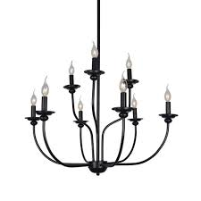 baiwaiz candle chandelier lighting 9 light 2 tier metal vintage ceiling pendant light adjule retro antique hanging lamp black finishing