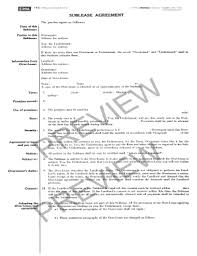 Sublease Agreement Samples Bill Of Sale Form Ohio Sublease Agreement Form Templates Fillable