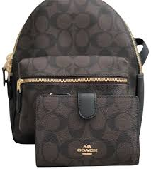 coach charlie signature pvc leather mini wallet brown black canvas backpack