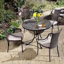 ... Patio, Small Patio Tables Small Space Patio Furniture Yellow Flower  Looks Noticeable With Black Round ...