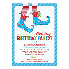 Christmas Birthday Party Invitations Christmas Holiday Elf Birthday Party Invitation Zazzle Com