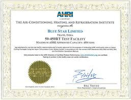 Certificates Customer Service Blue Star India