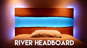 living edge lighting. Live Edge Epoxy River Headboard (or Table) With LED Lights // How To Build - Woodworking Living Lighting E