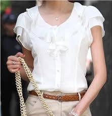 2019 Summer New Korean Version Of Lacy White <b>Shirt Short</b> ...