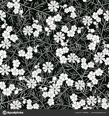 シームレスな白と黒の花柄のベクトル イラスト ストックベクター