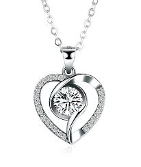 heart shaped diamond pendant necklace sterling silver simple heart shaped diamond pendant necklace home ideas info