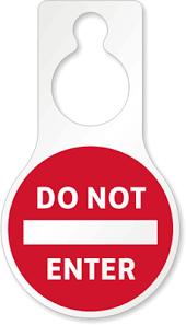 Do Not Enter Pear Shape Door Hanger 8 875 X 5 Inches Signs Sku Tg