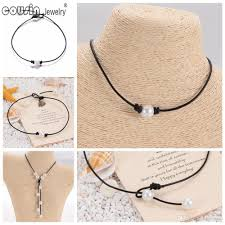 whole new pearl handmade single simulation perfect round pearl leather necklace on genuine leather cord for women pearl jewelry cat pendant necklace