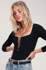 Style Merit Black Long Sleeve Lace Up Bodysuit