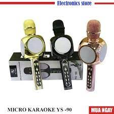 Micro YS 90 karaoke Bluetooth không dây hỗ trợ ghi âm, bắt giọng chuẩn, Mic  tích hợp loa bass hay-BH: 6Thang Lỗi 1 đổi 1