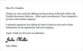 Decline An Offer Sample Decline Offer Letter Job Rejection Polite Coachdave Us