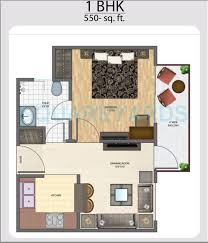 Elegant 1 BHK 550 Sq. Ft. Apartment Floor Plan