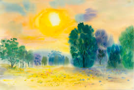 painting colorful of sunset and green tree in cloud background stock ilration ilration of