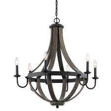 Shop Kichler Merlot 30 In 6 Light Distressed Black And Wood Barn Chandelier Lighting Lowes