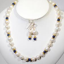 fresh water pearls lapis and gold fill necklace