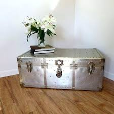 vintage industrial aluminum rivet coffee table storage trunk oak silver en transport travel case decoration ideas for classroom