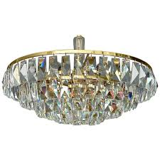 fine large palwa gilt brass five tier faceted crystal glass chandelier germany for