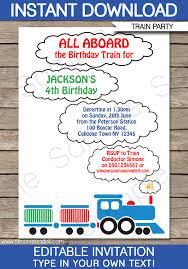 Train Party Invitations Template Train Birthday Party