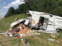 Camper destroyed after blown tire causes crash | Top Stories ...