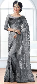 Grey Color Designer Blouse Net Party Wear Saree In Black And Grey With Stone Work