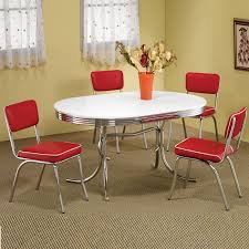 black kitchen dining sets: retro s oval table red black cushion chair  pc chrome kitchen dining set