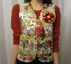 recycled wrapping paper ugly sweater vest vests last minute and last minute ugly sweater party make one out of wrapping paper lol recycled