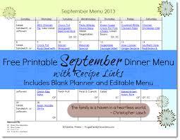 Free Printable September Dinner Menu With Recipe Links