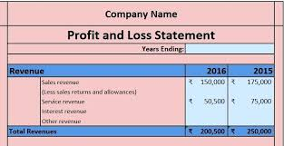 Financial Template For Excel Excel Financial Statement Download Profit And Loss Account Excel