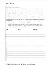 Blank Petition Signature Sheet Template