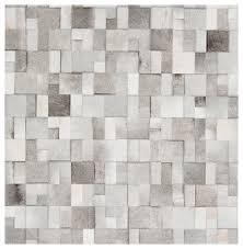 bursa global bazaar mondrian tile grey white cowhide rug 18 inch sample